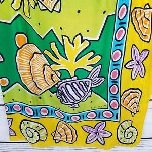 Echo Silk Scarf Wrap Coral Fish Shells Tropical